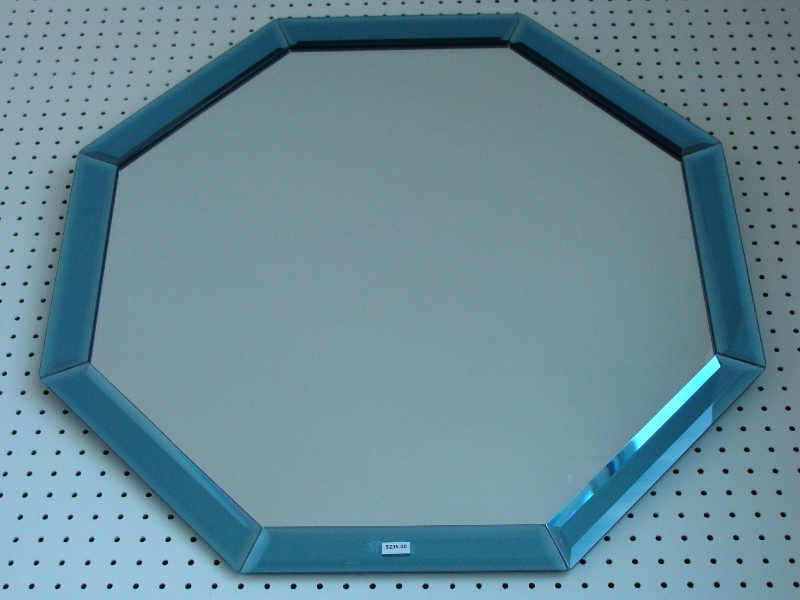 Clear octagon mirror with blue mirror beveled strip border for Octagon beveled mirror